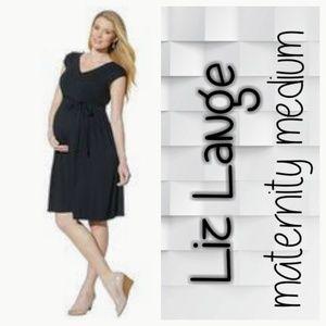 Liz Lange medium maternity TRUE wrap dress, black